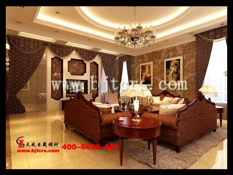 专业别墅室内装饰设计别墅客厅效果图施工图
