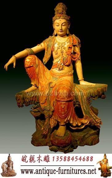 彩绘观音木雕佛像(wl-a-02l)