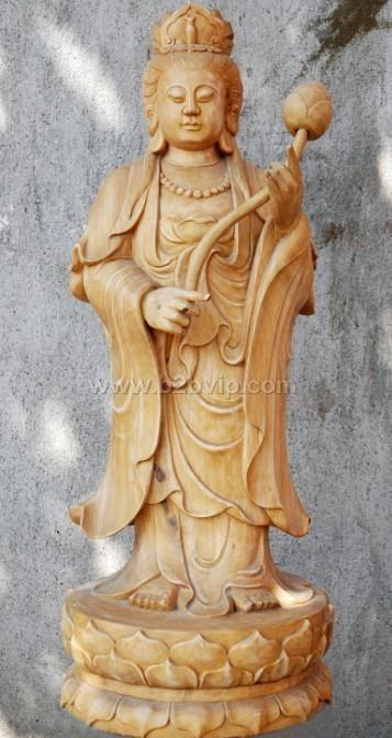 大势至菩萨木雕佛像