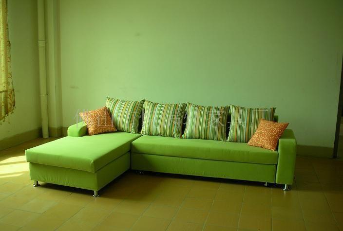 欧式绿色皮沙发